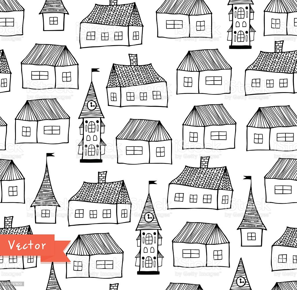 Seamless pattern with decorative houses in pastel colors vector art illustration