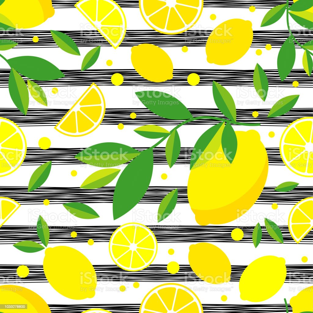 Seamless Pattern With Decorative Lemons Cute Cartoon Summer Garden Lemon Jam Vector Illustration Textile Rapport Stock Illustration Download Image