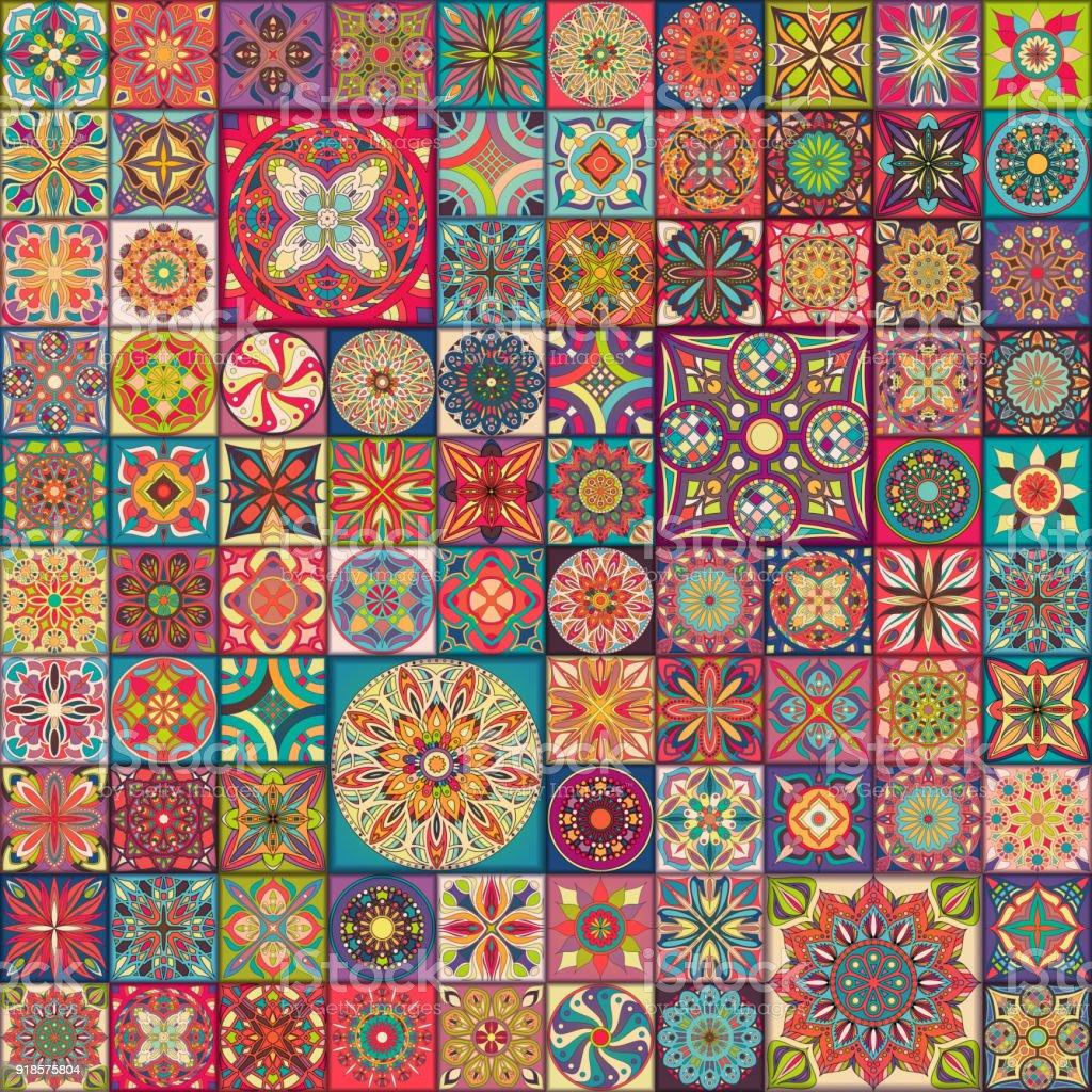 Naadloze patroon met decoratieve mandala's. Vintage mandala elementen. Kleurrijke lappendeken. - Royalty-free Abstract vectorkunst