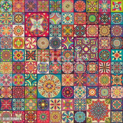 istock Seamless pattern with decorative mandalas. Vintage mandala elements. Colorful patchwork. 918575804