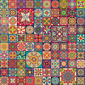 Seamless pattern with decorative mandalas. Vintage mandala elements. Colorful patchwork