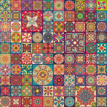 Naadloze Patroon Met Decoratieve Mandalas Vintage Mandala Elementen Kleurrijke Lappendeken Stockvectorkunst en meer beelden van Abstract