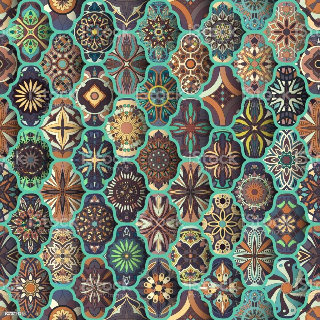 Seamless pattern with decorative mandalas. Vintage mandala elements. Colorful patchwork. Seamless pattern with decorative mandalas. Vintage mandala elements. Colorful patchwork Ancient stock vector