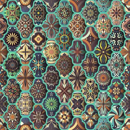 Seamless Pattern With Decorative Mandalas Vintage Mandala Elements Colorful Patchwork Stock Illustration - Download Image Now