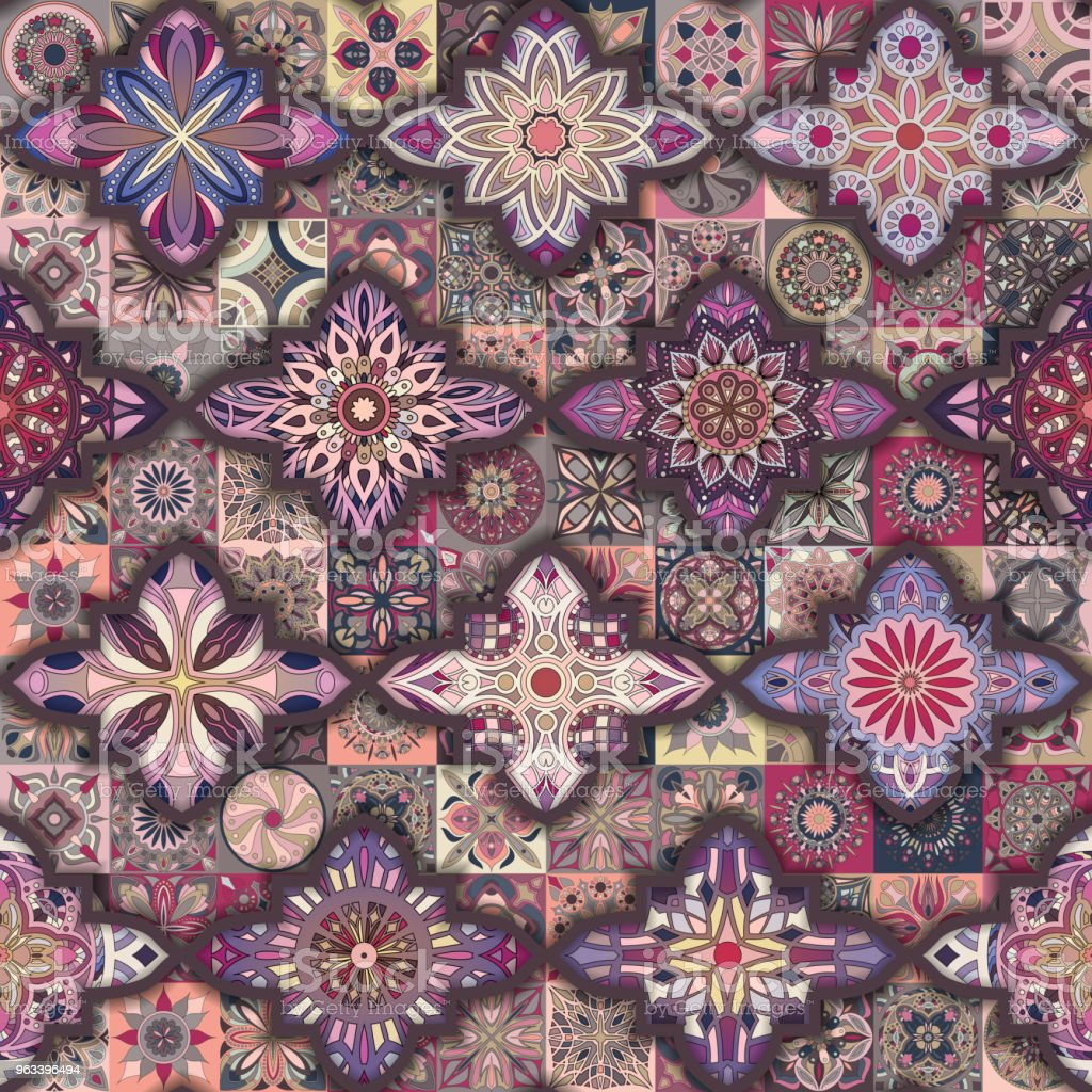Seamless pattern with decorative mandalas. Vintage mandala elements. Colorful patchwork. - Grafika wektorowa royalty-free (Abstrakcja)