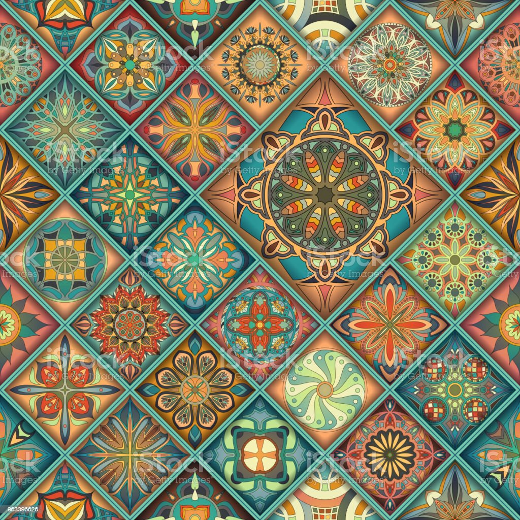 Bezszwowy wzór z ozdobnymi mandalami. Vintage elementy mandali. Kolorowa mozaika. - Grafika wektorowa royalty-free (Abstrakcja)
