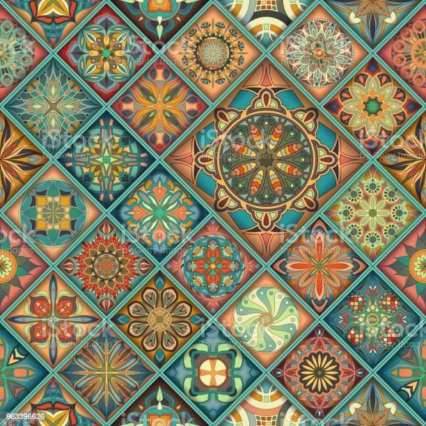 Bezszwowy Wzór Z Ozdobnymi Mandalami Vintage Elementy Mandali Kolorowa Mozaika - Stockowe grafiki wektorowe i więcej obrazów Abstrakcja