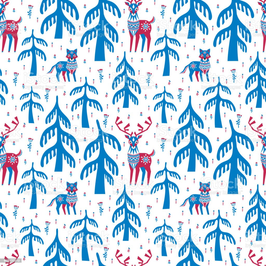 seamless pattern with deer and wolf vector art illustration