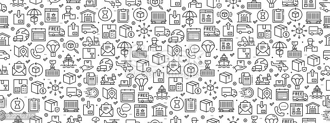 istock Seamless Pattern with Delivery Icons 1222212712