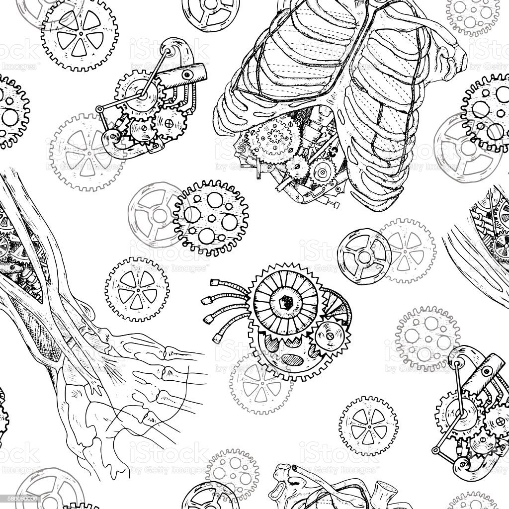 Seamless Pattern With Demon Hands Chest Ribs And Old Mechanisms ...