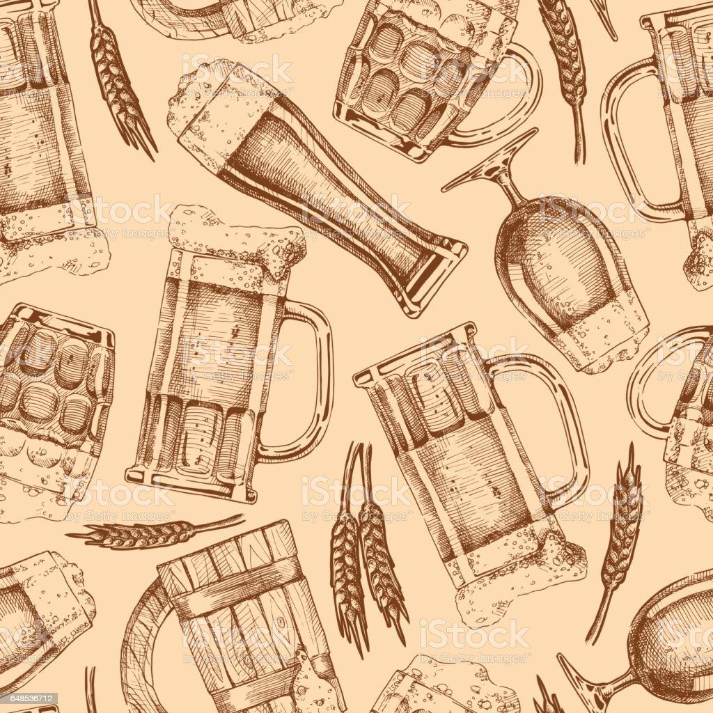 nahtlose Muster mit verschiedenen Biergläser und Krüge – Vektorgrafik
