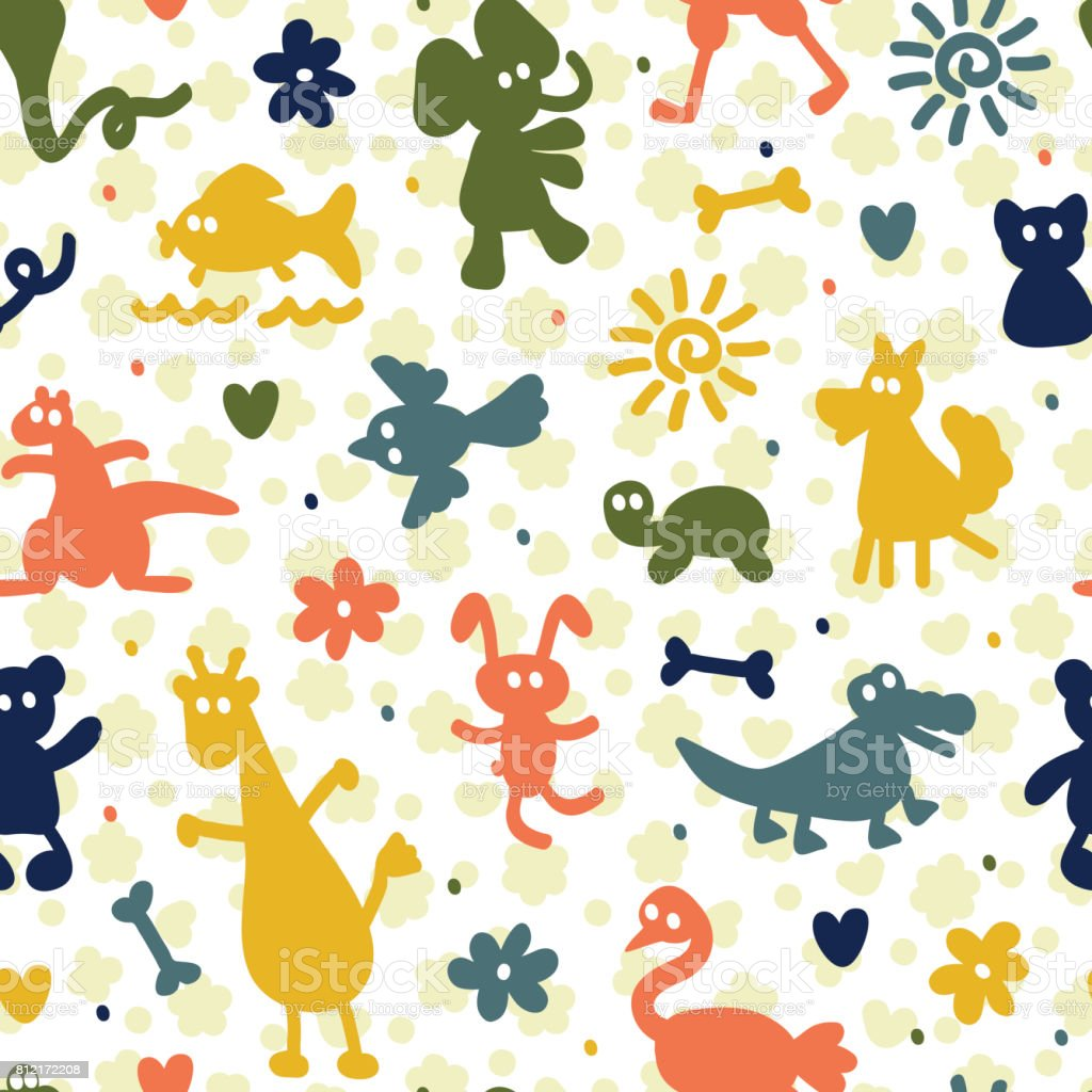 Seamless Pattern With Different Cartoon Animal Silhouettes Kids Wallpaper Colorful Background For Children