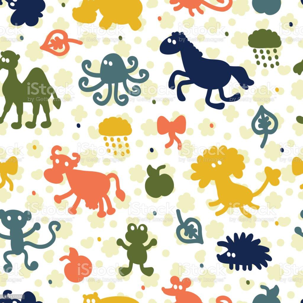 別の漫画の動物のシルエットとのシームレスなパターン子供たちの壁紙