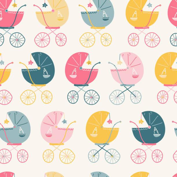 Modèle sans couture avec différentes couleurs poussettes de bébé, style simple de cru. - Illustration vectorielle