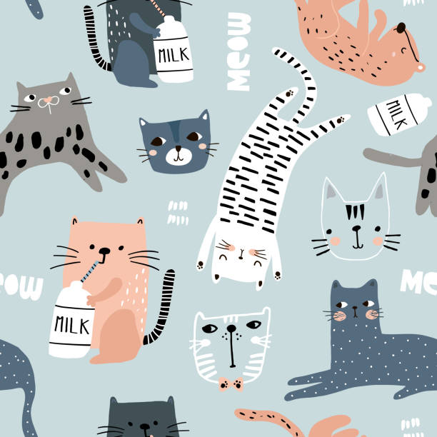 seamless pattern with different funny cats. creative childish texture. great for fabric, textile vector illustration - cat stock illustrations