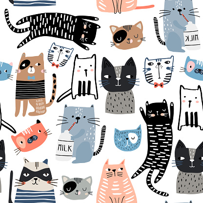 Seamless pattern with different funny hand drawn cats and milk bottle. Creative childish texture. Great for fabric, textile Vector Illustration