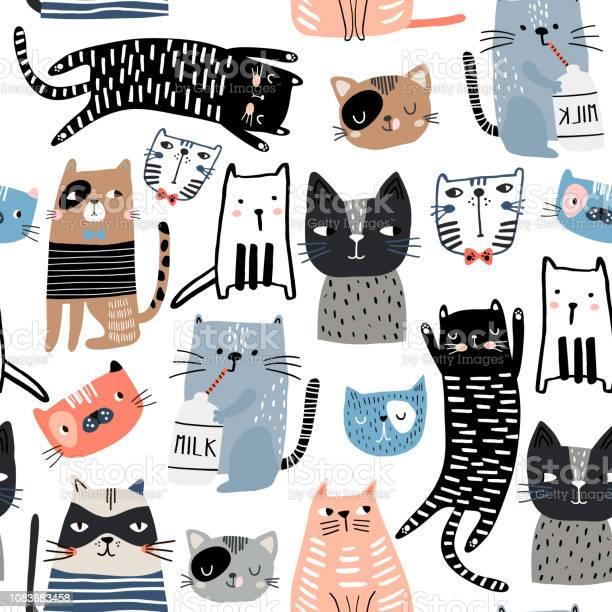 Seamless pattern with different funny hand drawn cats and milk bottle vector id1083683458?b=1&k=6&m=1083683458&s=612x612&h=2ukixiaqhxrivkjg mdoiibbdwohwdvprwsjxzbleag=