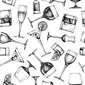 Seamless vector pattern with different glasses goblets and wineglasses. illustration in old fashioned hand drawn style on white background.