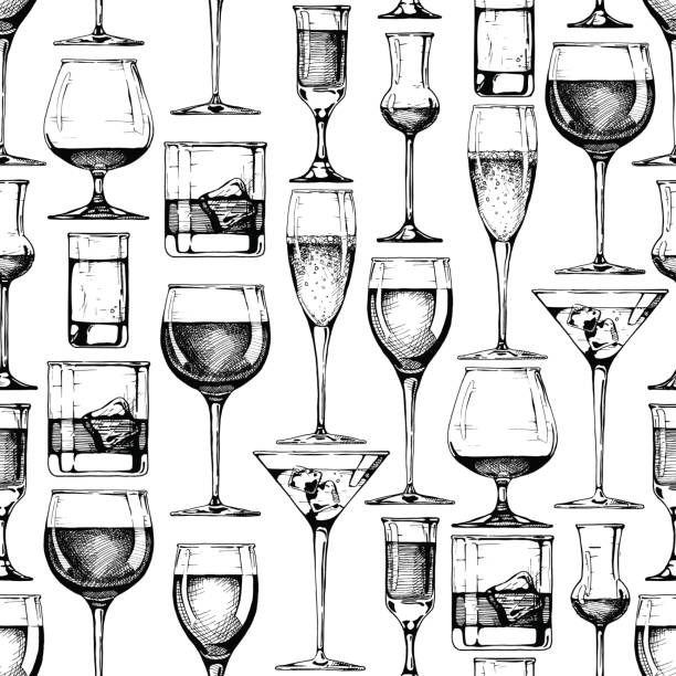 seamless pattern with different glasses goblets - alcohol drink drawings stock illustrations