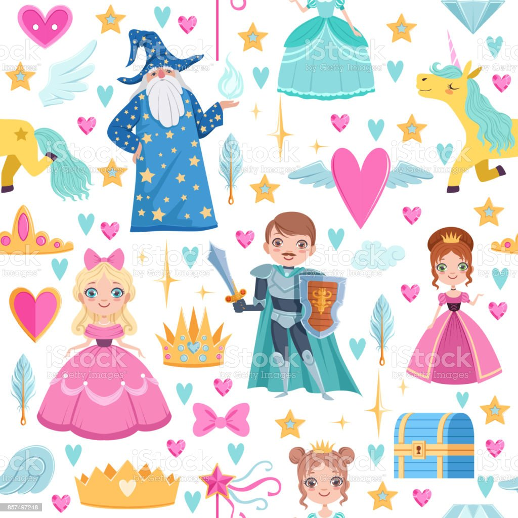Seamless pattern with different magic elements. Fairytale illustrations in cartoon style vector art illustration
