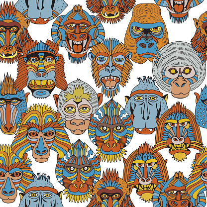 Seamless Pattern With Different Monkey Faces. Doodle Set of Cartoon Primate Face. Hand Drawn illustration.