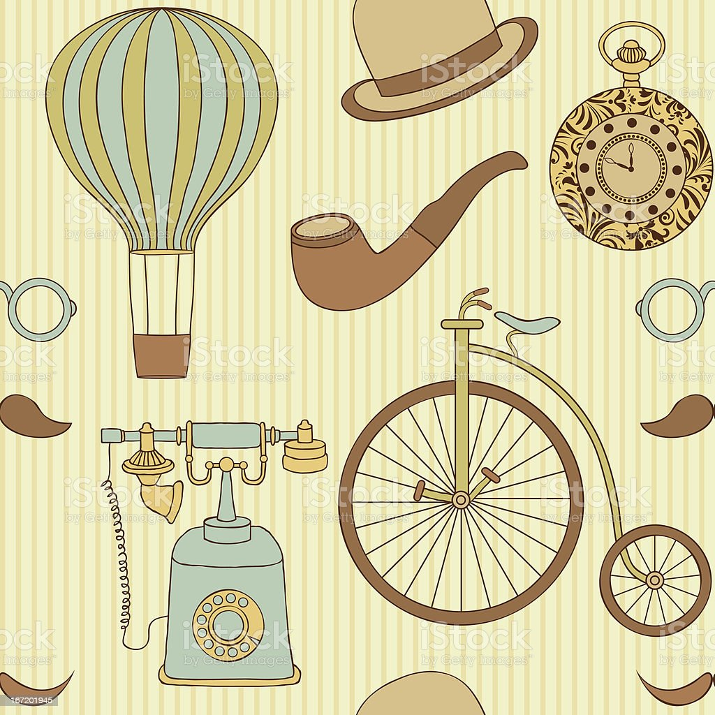 seamless pattern with different retro objects royalty-free seamless pattern with different retro objects stock vector art & more images of antique