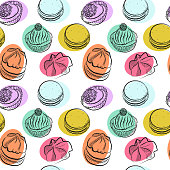 Seamless pattern with different sweet cakes