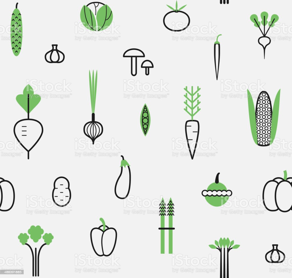Seamless pattern with different vegetables. Vector set. Icons. vector art illustration