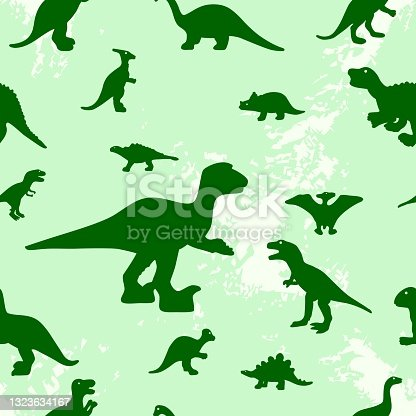 istock Seamless pattern with dinosaur silhouette on texture spots. Fabric textile, wrapping, packaging paper, wallpaper. 1323634167