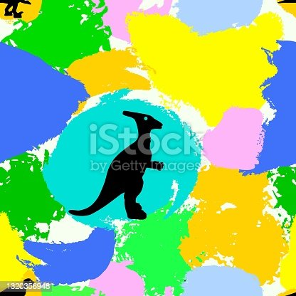 istock Seamless pattern with dinosaur silhouettes on colorful watercolor spots. Fabric textile, wrapping, 1320356948
