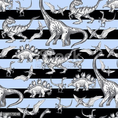 istock Seamless pattern with dinosaurs and landscape. Vector. 1183173245