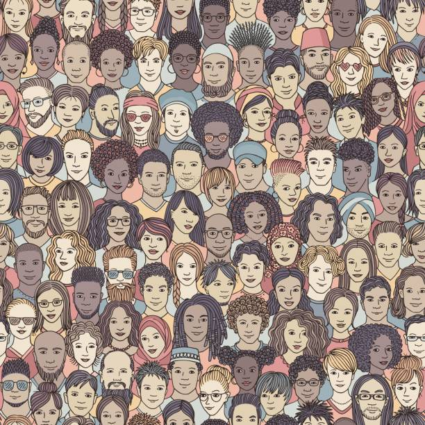 Seamless pattern with diverse people vector art illustration