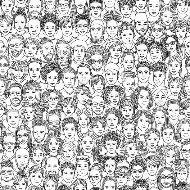 Seamless pattern with diverse people Diverse crowd of people - seamless pattern of 100 hand drawn faces of various ethnicities community drawings stock illustrations