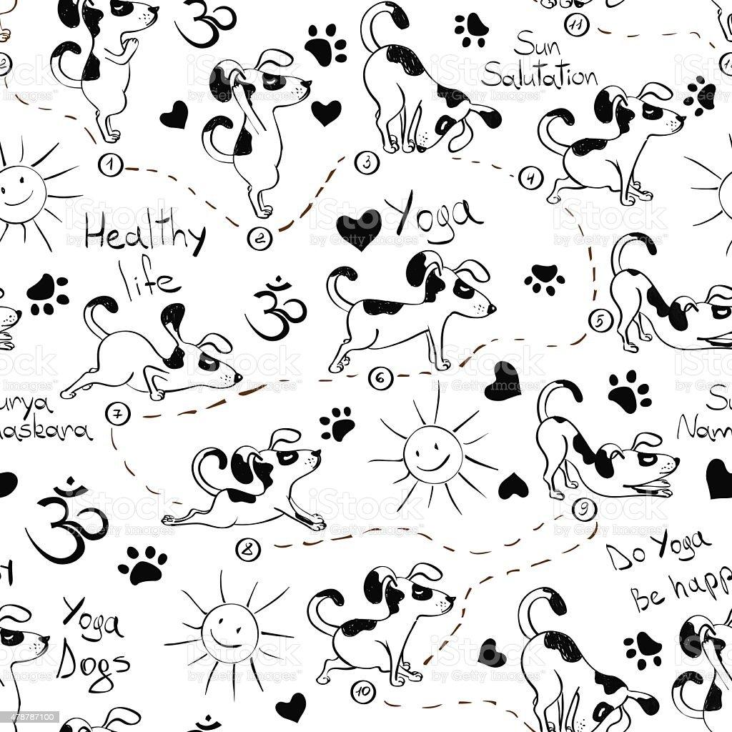 Ilustración de Patrón Sin Costuras Con Perro Haciendo Yoga Posición ...
