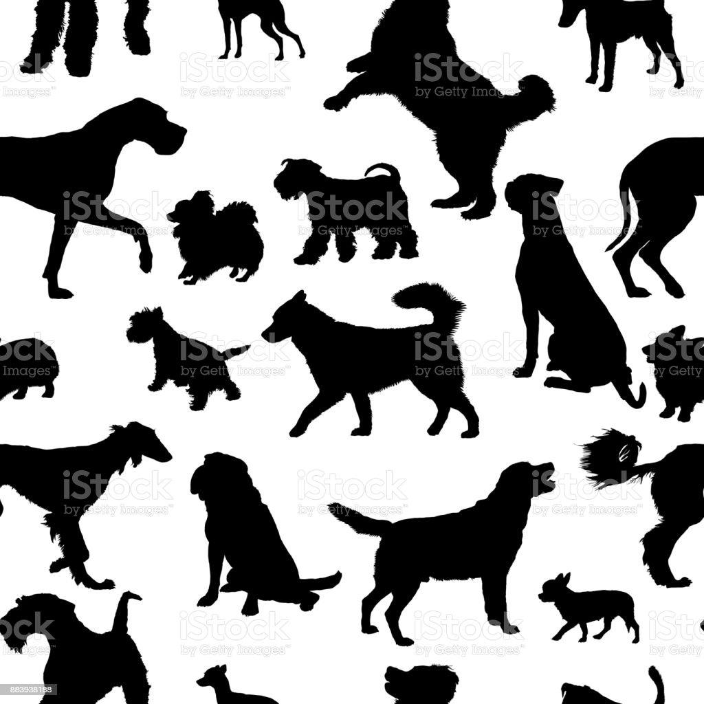 Patrón sin costuras con siluetas de perros - ilustración de arte vectorial