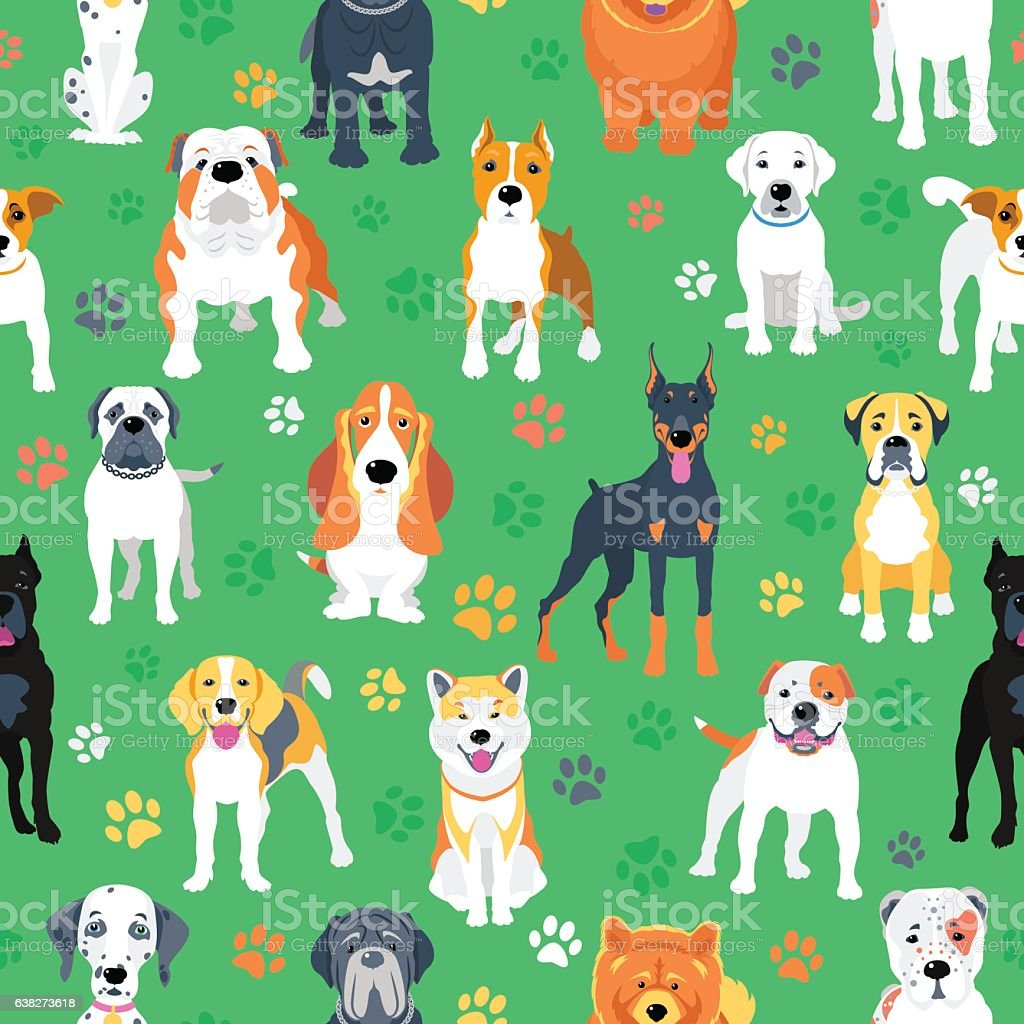 Seamless pattern with dogs flat design vector art illustration