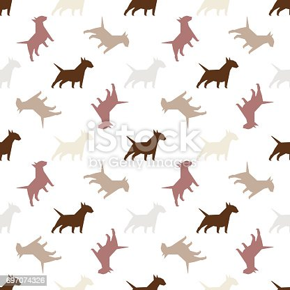 istock Seamless pattern with dogs. 697074326