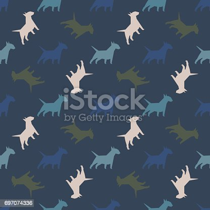 istock Seamless pattern with dogs. 697074336