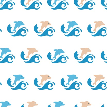 Seamless Pattern with Dolphin Jumping in Flat Vector Design