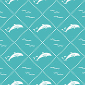 Seamless pattern with dolphins, splashes and waves