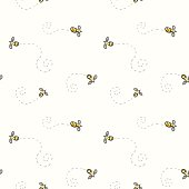 Seamless pattern with doodle bees