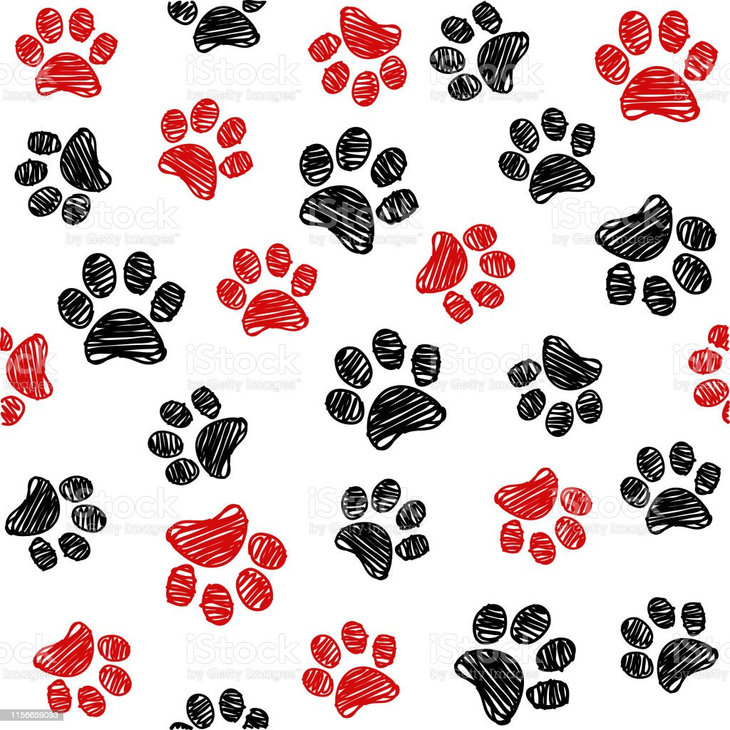 5437aa70d142 Seamless pattern with doodle dog paws. Black and red color animal print.  Vector background