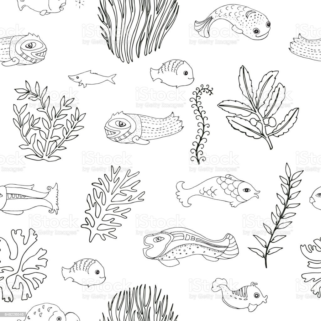 seamless pattern with doodle fish and seaweed coloring page for adults royalty free stock