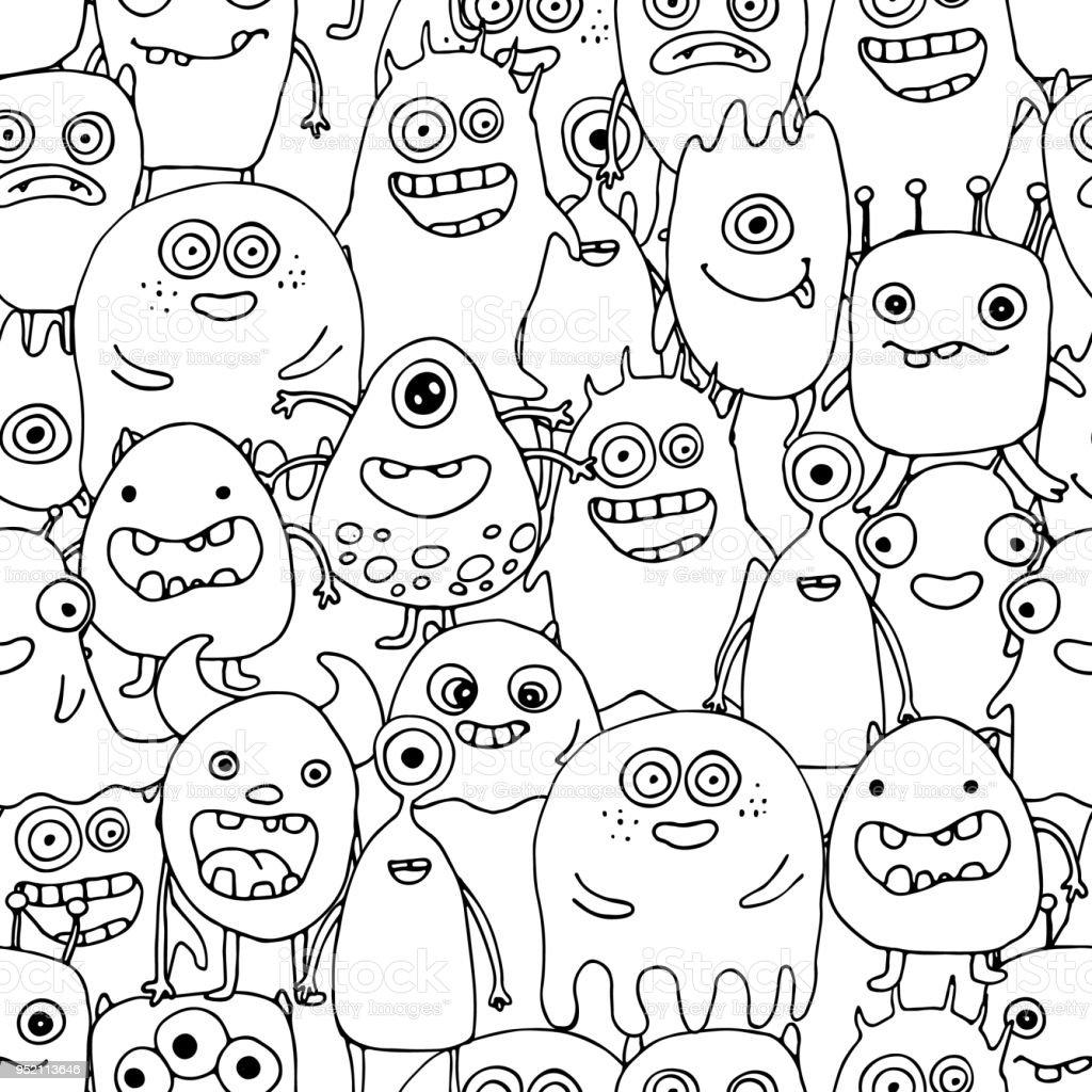 Nahtlose Muster Mit Doodle Monster Malvorlagen Stock Vektor Art und ...