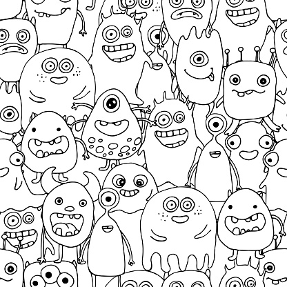 Seamless Pattern With Doodle Monsters Coloring Page Stock