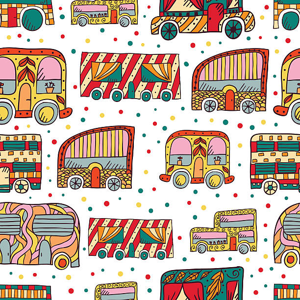 nahtlose muster mit doodle recreational fahrzeuge - zigeunerleben stock-grafiken, -clipart, -cartoons und -symbole