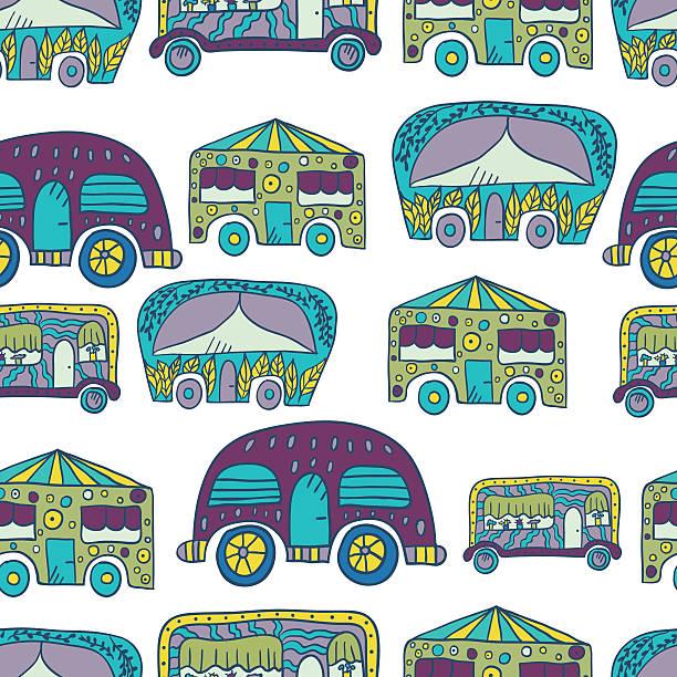 nahtlose muster mit doodle recreational fahrzeuge - 2 - zigeunerleben stock-grafiken, -clipart, -cartoons und -symbole