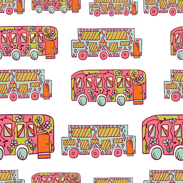 nahtlose muster mit doodle recreational fahrzeuge - 3 - zigeunerleben stock-grafiken, -clipart, -cartoons und -symbole
