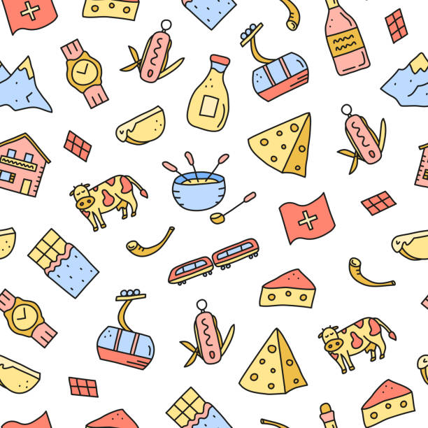 nahtloses muster mit doodle schweiz icons. - raclette stock-grafiken, -clipart, -cartoons und -symbole