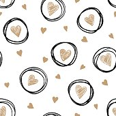 seamless pattern with doodling sketch heart.